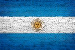 National flag of Argentina on a brick. Background royalty free illustration