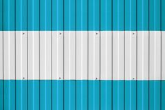 National flag of Argentina on fence. Symbolizes entry ban or prohibition for crossing border of country. National flag of Argentina on fence. Symbolizes entry Stock Photos