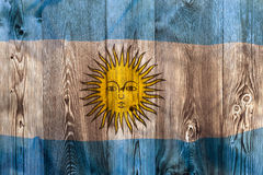 National flag of Argentina, wooden background Royalty Free Stock Image