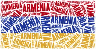 National flag of Armenia. Word cloud illustration. Stock Image