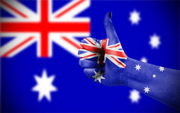 National flag of Australia on hand Stock Photo