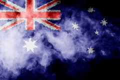 National flag of Australia. From thick colored smoke on a black isolated background Vector Illustration
