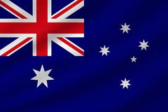 National flag of Australia. On wavy cotton fabric. Realistic vector illustration royalty free illustration