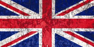 National flag on the background of the old wall. National flag of United Kingdom on the background of the old wall covered with peeling paint. Concept of country royalty free illustration