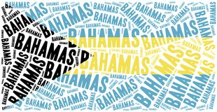 National flag of Bahamas. Word cloud illustration. Royalty Free Stock Image
