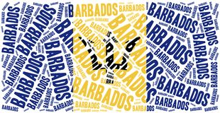 National flag of Barbados. Word cloud illustration. Royalty Free Stock Photography