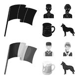 National flag, belgians and other symbols of the country.Belgium set collection icons in black,monochrom style vector royalty free illustration