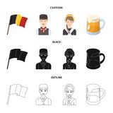 National flag, belgians and other symbols of the country.Belgium set collection icons in cartoon,black,outline style stock illustration