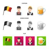 National flag, belgians and other symbols of the country.Belgium set collection icons in cartoon,flat,monochrome style stock illustration