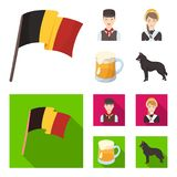 National flag, belgians and other symbols of the country.Belgium set collection icons in cartoon,flat style vector vector illustration