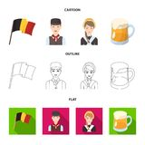 National flag, belgians and other symbols of the country.Belgium set collection icons in cartoon,outline,flat style stock illustration