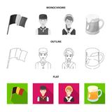 National flag, belgians and other symbols of the country.Belgium set collection icons in flat,outline,monochrome style vector illustration