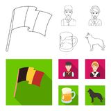 National flag, belgians and other symbols of the country.Belgium set collection icons in outline,flat style vector vector illustration