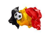 The national flag of Belgium. FIFA World Cup. Russia 2018. Flag made of fabric. Football and soccer concept. Fans concept. Soccer ball with fabric. Isolated on Stock Images