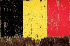 National flag of Belgium on metal texture royalty free stock photo