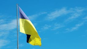 National flag Blue, Yellow fluttering in the wind, Flag of Ukraine, Symvol Ukraine develops on the background of blue. Kherson, Ukraine 20 May 2016: national stock video footage