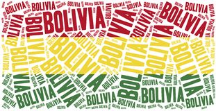 National flag of Bolivia. Word cloud illustration. Stock Photos
