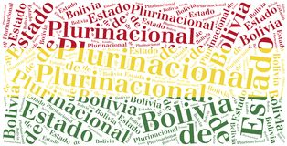 National flag of Bolivia. Word cloud illustration. Stock Photo