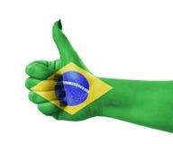 National flag of Brazil on hand. National flag of Brazil on female hand Royalty Free Stock Photos