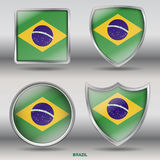 National Flag of Brazil in 4 Shape Collection. Jpeg file ready with Clipping Path, easy  by shape Royalty Free Stock Images