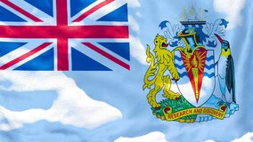 The national flag of British Antarctic Territory flutters in the wind