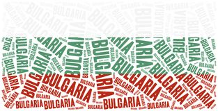 National flag of Bulgaria. Word cloud illustration. Stock Images