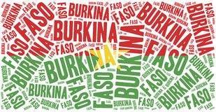 National flag of Burkina Faso. Word cloud illustration. Royalty Free Stock Image