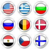 National flag button set Stock Images