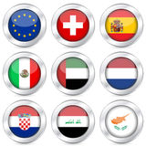 National flag button set 5 Royalty Free Stock Photos