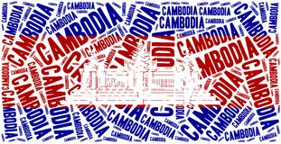 National flag of Cambodia. Word cloud illustration. Royalty Free Stock Photo