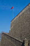 The national flag of China. On the ancient city wall Royalty Free Stock Photography