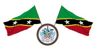 .National flag and the coat of arms 3D illustration of Saint Kitts and Nevis. Background for editors and designers. National stock illustration