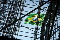 National Flag at a Construction Site in Rio de Janeiro, Brazil. With Brazil hosting a series of global events, it is building more and more infrastructure and royalty free stock image