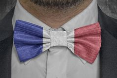 National flag of country France on bowtie business man suit royalty free stock photos