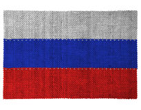 The national flag of the country of Russia. Sewn from three pieces of white thread. Fabric with large texture royalty free stock photo