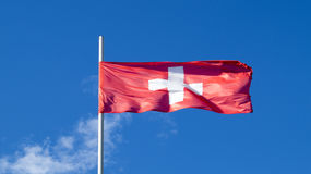 The national flag of the country Switzerland stock photography