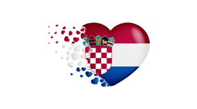 National flag of Croatia in heart illustration. With love to Croatia country. The national flag of Croatia fly out small hearts. On white background vector illustration