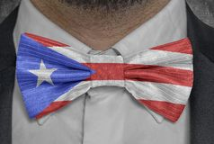 National flag of Cuba on bowtie business man suit stock photo