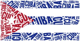 National flag of Cuba. Word cloud illustration. Stock Photos
