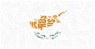 National flag of Cyprus. Word cloud illustration. Royalty Free Stock Images