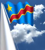 Flag of the Democratic Republic of the Congo. The national flag of the Democratic Republic of the Congo is a sky blue flag, adorned with a yellow star in the Vector Illustration