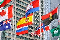 National flag of different countries with building Stock Photos