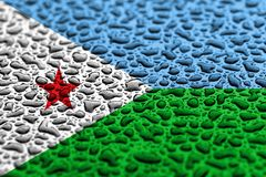 National flag of Djibouti made of water drops. Background forecast concept.  royalty free stock images