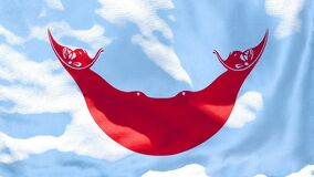 The national flag of Easter Island flutters in the wind