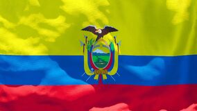The national flag of Ecuador flutters in the wind