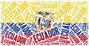 National flag of Ecuador. Word cloud illustration. Royalty Free Stock Images