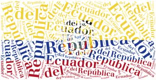 National flag of Ecuador. Word cloud illustration. Stock Photo