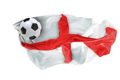 The national flag of England. FIFA World Cup. Russia 2018. Flag made of fabric. Football and soccer concept. Fans concept. Soccer ball with fabric. Isolated on royalty free stock photos