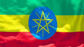 The national flag of Ethiopia flutters in the wind