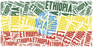 National flag of Ethiopia. Word cloud illustration. Stock Image